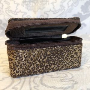 Mary Kay Brown Animal Print Lipstick Case w Mirror